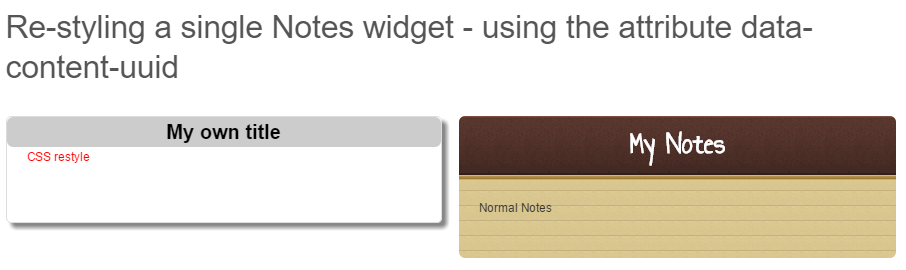 Changing the title of the My Notes widget using CSS and the HTML